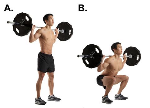 volledige squat met barbell
